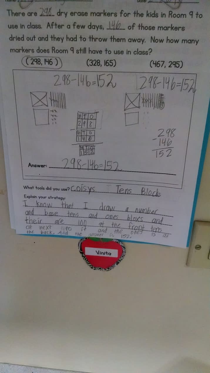 Student Problem Solving Work - Second Grade